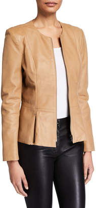 Neiman Marcus Leather Collection Zip-Front Leather Peplum Jacket