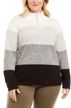 Karen Scott Plus Size Kathleen Striped Cotton 1/4-Zip Sweater, Created for Macy's