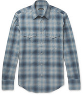 Tom Ford Micky Checked Cotton Shirt - Blue