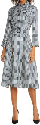 HUGO BOSS Danimala Long Sleeve Silk Fit & Flare Shirtdress