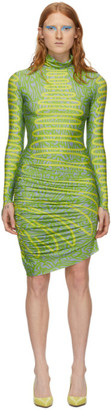 Maisie Wilen Green and Yellow Turtleneck Dress
