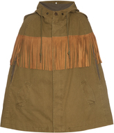 Saint Laurent Suede-fringed cotton-canvas cape