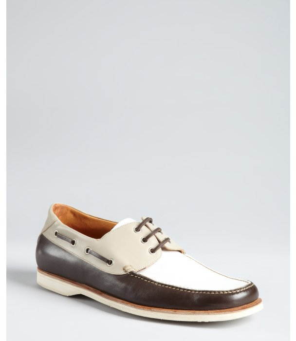 Brioni white and brown leather boat shoes