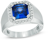 Zales Men's 9.0mm Cushion-Cut Lab-Created Blue Sapphire and 1/4 CT. T.W. Diamond Frame Comfort Fit Ring in 10K White Gold