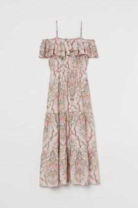 H&M Patterned Flounced Dress - Pink