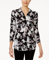 Charter Club Petite Floral-Print V-Neck Top, Only at Macy's
