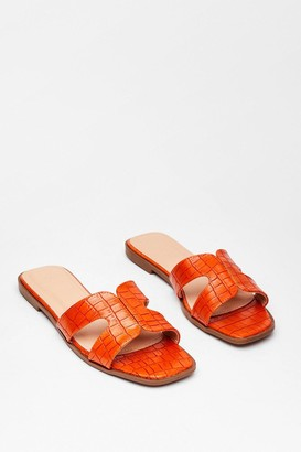 Nasty Gal Womens Croc What We Expected Faux Leather Flat Sandals - Orange