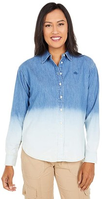 Lauren Ralph Lauren Petite Ombre Denim Shirt (Dipped Indigo Wash) Women's Clothing