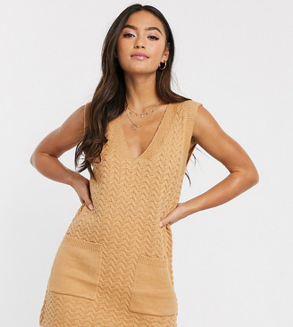 Wild Honey knitted tunic dress with pockets-Beige