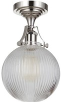 """clear Javen 1 - Light 7.75"""" Simple Globe Semi Flush Mount Breakwater Bay Fixture Finish: Polished Nickel, Shade Color"""