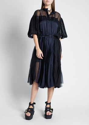 Sacai Short-Sleeve Chiffon Satin Combo Dress