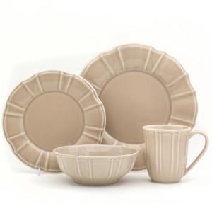 Chloé Euro Ceramica 16 Piece Taupe Dinnerware Set