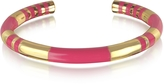 Aurelie Bidermann 18K gold-plated & Fuchsia Enamel Resin Positano Striped Bangle
