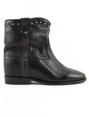 Isabel Marant Black Leather Cluster Ankle Boots