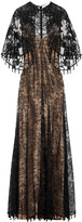 Givenchy Cape-effect Embellished Chantilly Lace Gown - Black