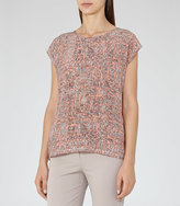 Reiss Coco Printed Silk-Front T-Shirt