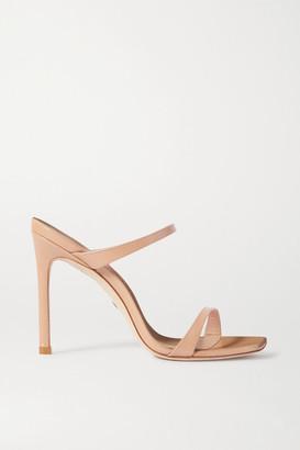 Stuart Weitzman Aleena Textured Patent-leather Sandals - Neutral