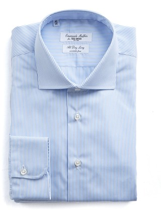 Todd Snyder Emanuele Maffeis + Light Blue Stripe Wrinkle Free Dress Shirt