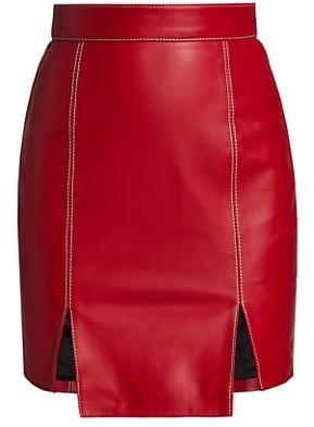 Kirin Contrast Stitch Leather Skirt
