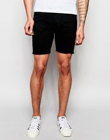 Brave Soul Black Denim Shorts Raw Hem Shorts