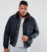Schott Plus Air Bomber Jacket Detachable Faux Fur Collar Slim Fit In Navy/Brown