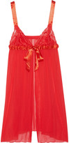 Cosabella Tulle, lace and satin babydoll chemise