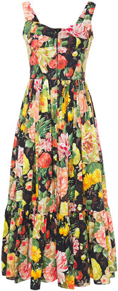 Dolce & Gabbana Gathered Floral-print Cotton-poplin Midi Dress