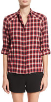 Alice + Olivia Glenna Crinkle Plaid Shirt, Multi