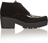 Miu Miu Suede and Zebra-Print Calf Hair Lace-Ups