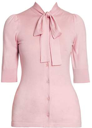 Dolce & Gabbana Silk & Cashmere Tieneck Short-Sleeve Cardigan