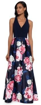 Xscape Evenings Petite Long Floral-Skirt Gown