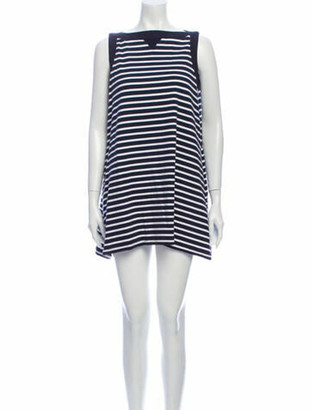 Sacai Striped Mini Dress Blue