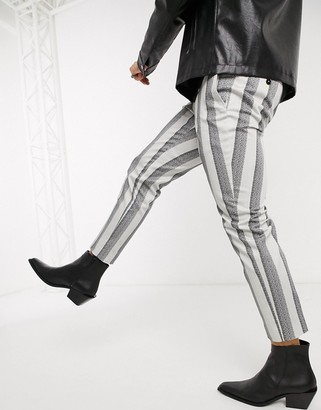 Twisted Tailor slim tapered trousers with chain in cream stripe