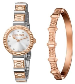 Roberto Cavalli Women's Swiss Quartz Two-Tone Rose Gold Stainless Steel Watch & Bracelet Gift Set, 26mm