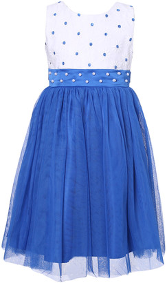 Richie House Girls' Special Occasion Dresses White - White & Blue Pearl Sash Overlay Dress - Toddler & Girls