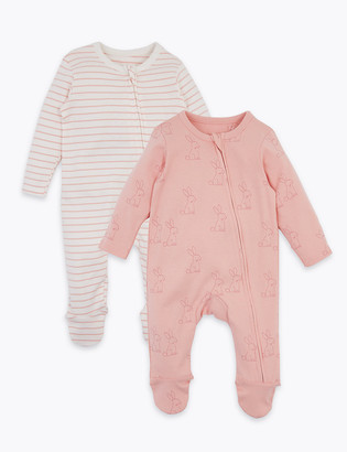 Marks and Spencer 2 Pack Cotton Patterned Sleepsuits (7lbs-12 Mths)