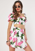 Missguided Pink Lemon Print Co Ord Skater Skirt