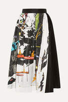 Prada Printed Silk-faille Midi Skirt - Black