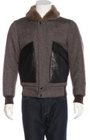 Alexander McQueen Leather-Trimmed Wool Flight Jacket