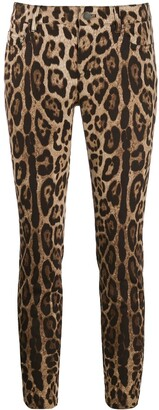 Dolce & Gabbana Leopard Print Cropped Jeans