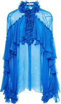 Prabal Gurung Frankie Long Sleeve V-Neck Ruffle Blouse