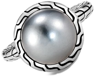 John Hardy Chain Classic Sterling Silver & 11.5-12MM Tahitian Pearl Ring
