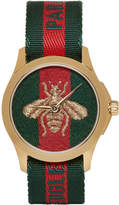 Gucci Gold and Green LAveugle Par Amour Bee Watch