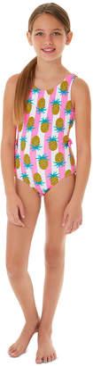 Glitter Beach Big Girls 1-Pc. Pineapple Cut-Out Swimsuit