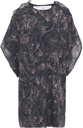 IRO Lace-up Floral-print Woven Mini Dress