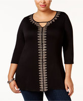Belldini Plus Size Embellished Keyhole Tunic