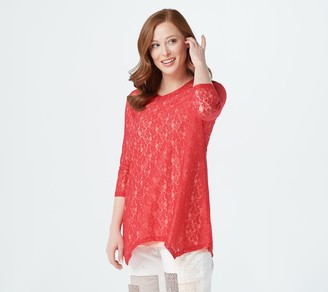 Logo by Lori Goldstein Stretch Lace 3/4 Sleeve Top with Tank Set