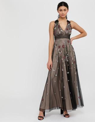 Under Armour Emmy Floral Sequin Maxi Dress Nude