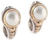 Konstantino 18 K Gold Sterling Silver Pearl Huggie Earrings
