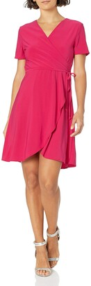 Star Vixen Women's Petite Short Sleeve Fauxwrap Ballerina Dress